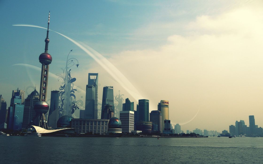 cityscapes buildings Shanghai wallpaper