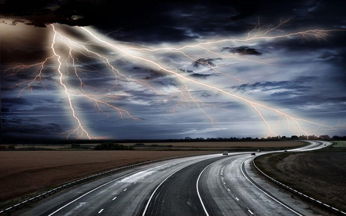 clouds roads lightning wallpaper