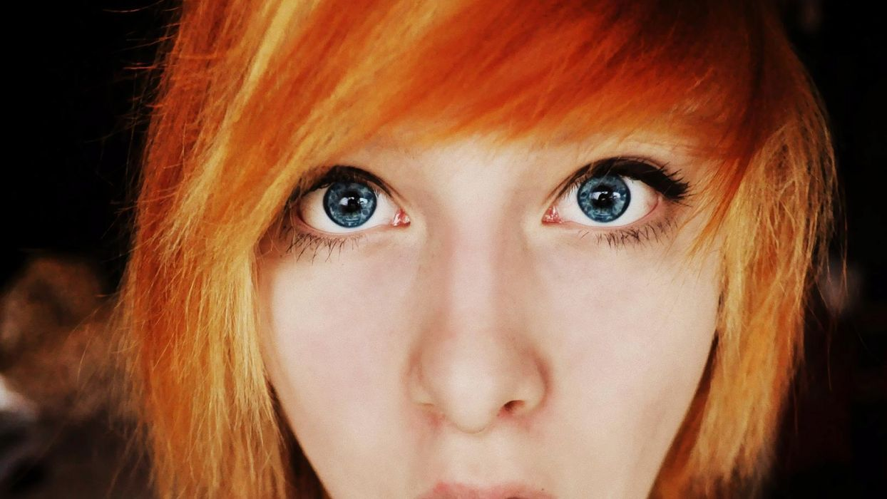women blue eyes redheads orange hair wallpaper