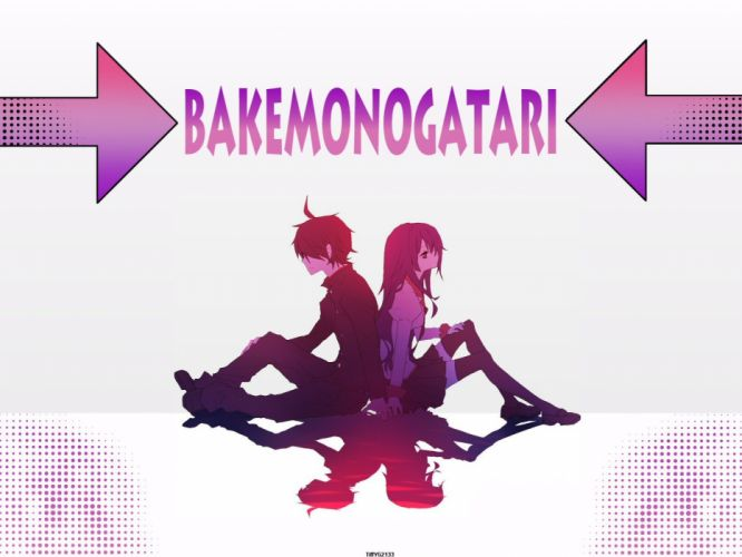 Bakemonogatari Araragi Koyomi Senjougahara Hitagi anime boys anime girls Monogatari series wallpaper