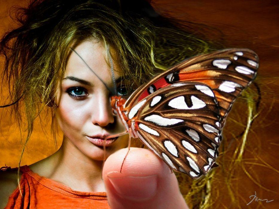 women butterflies wallpaper