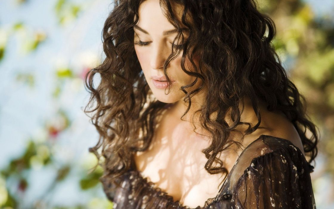 brunettes women Monica Bellucci actress celebrity curly hair looking down wallpaper
