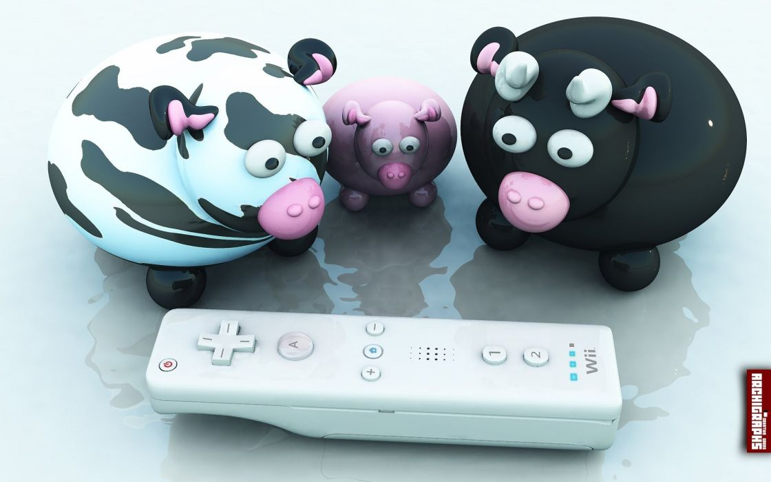 3D view animals funny Nintendo Wii Wiimote cows wallpaper