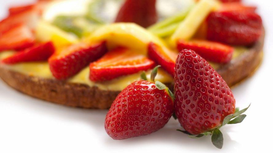 food pie strawberries cakes wallpaper