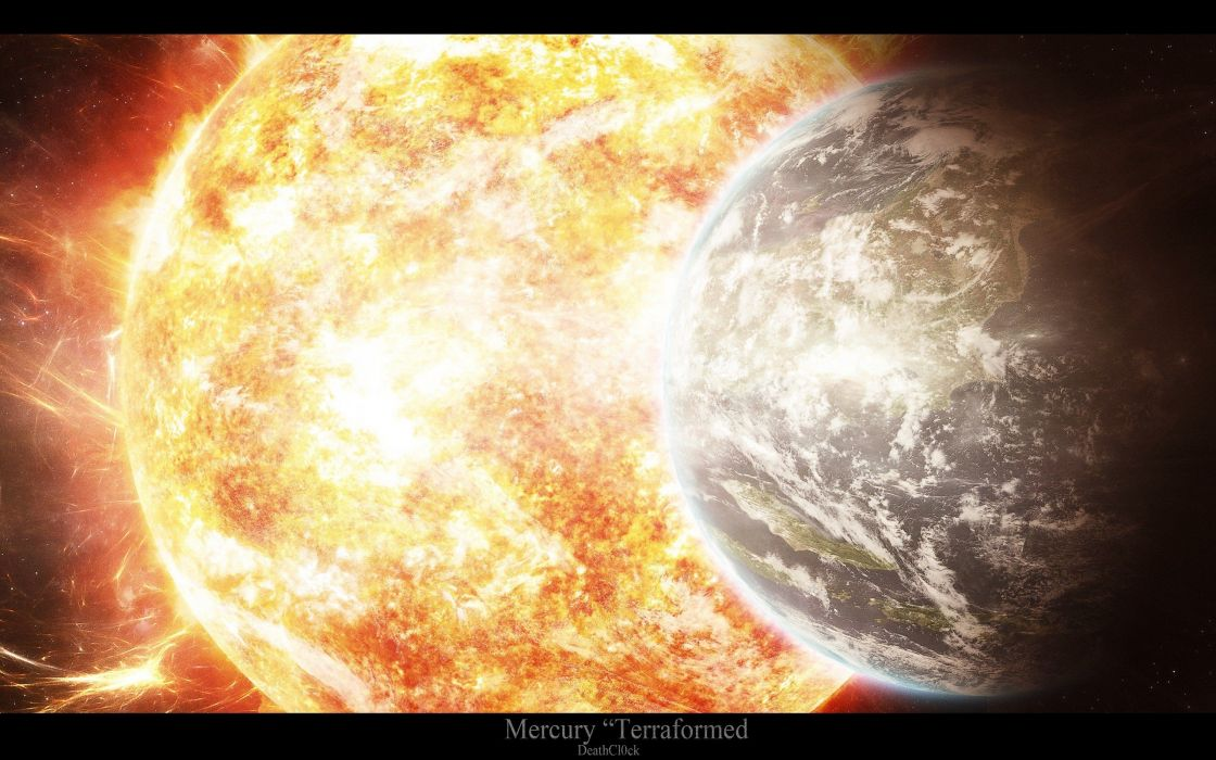 Sun Earth fantasy art wallpaper