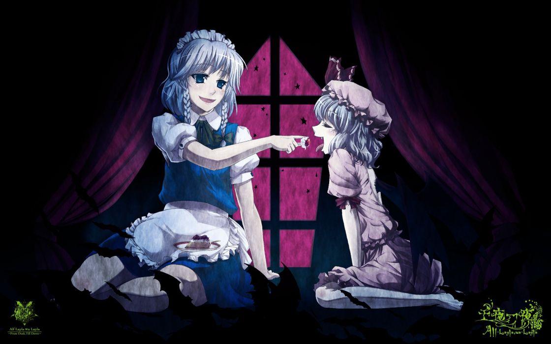 video games Touhou maids Izayoi Sakuya vampires Remilia Scarlet Embodiment of Scarlet Devil wallpaper