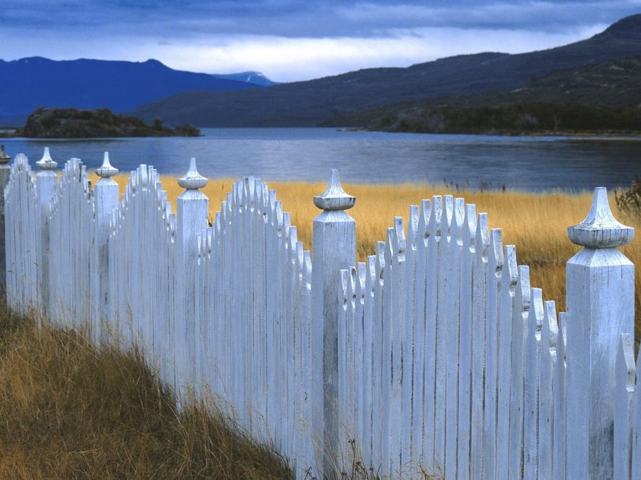 Chile landscapes nature white fences lakes picket fence wallpaper