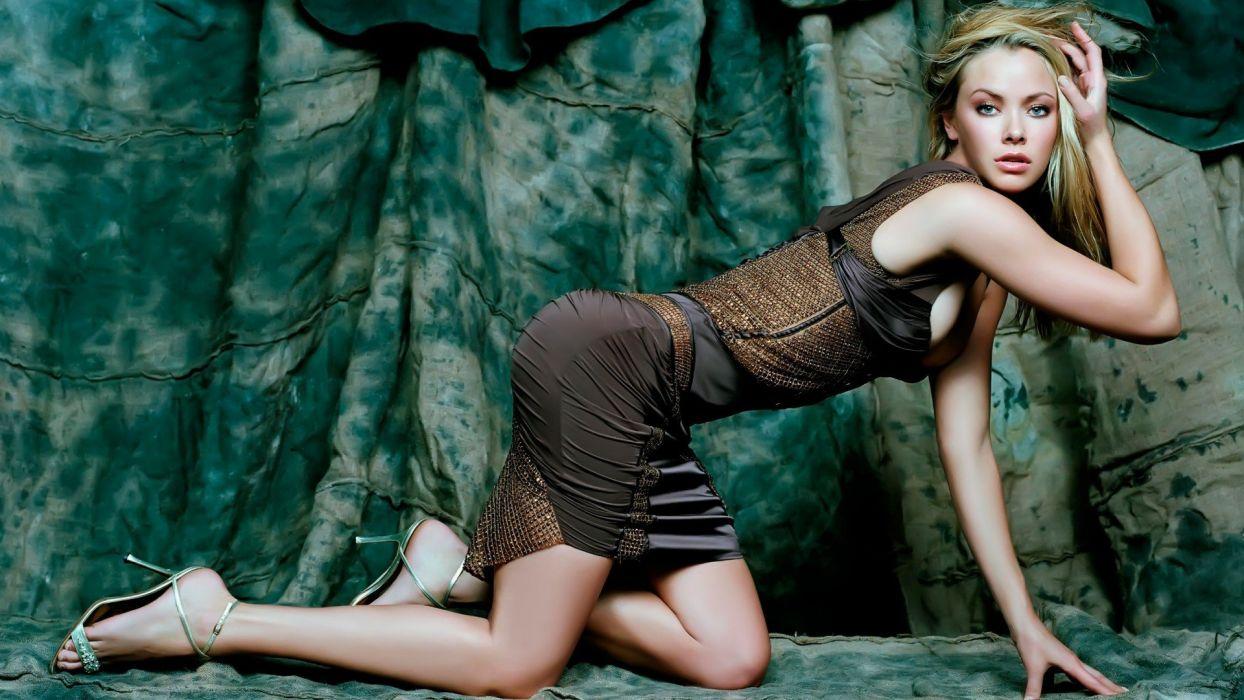 blondes women dress blue eyes cleavage Kristanna Loken celebrity high heels on all fours wallpaper