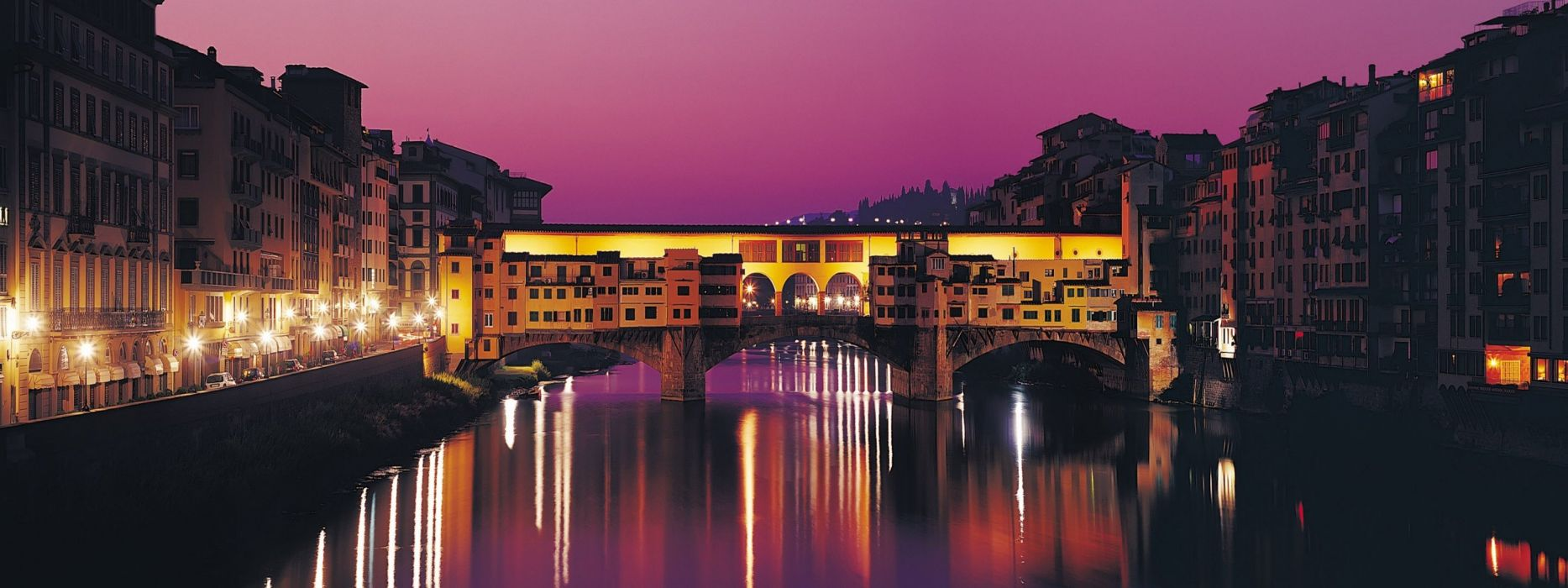 bridges Italy Florence Ponte Vecchio rivers reflections wallpaper