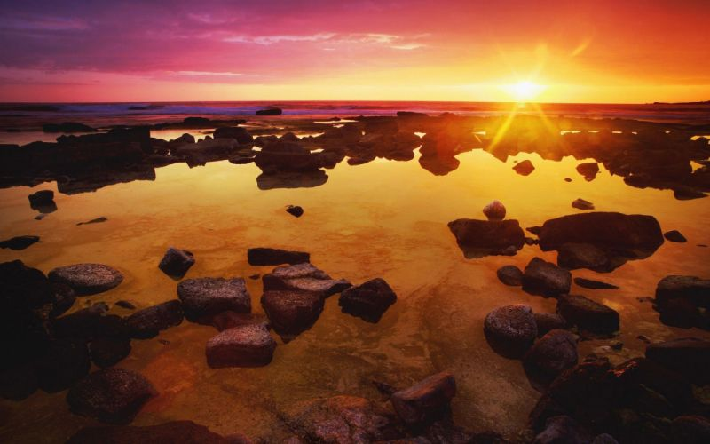sunset ocean landscapes nature coast sea wallpaper
