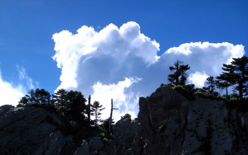 clouds nature trees cliffs skies Cliff wallpaper