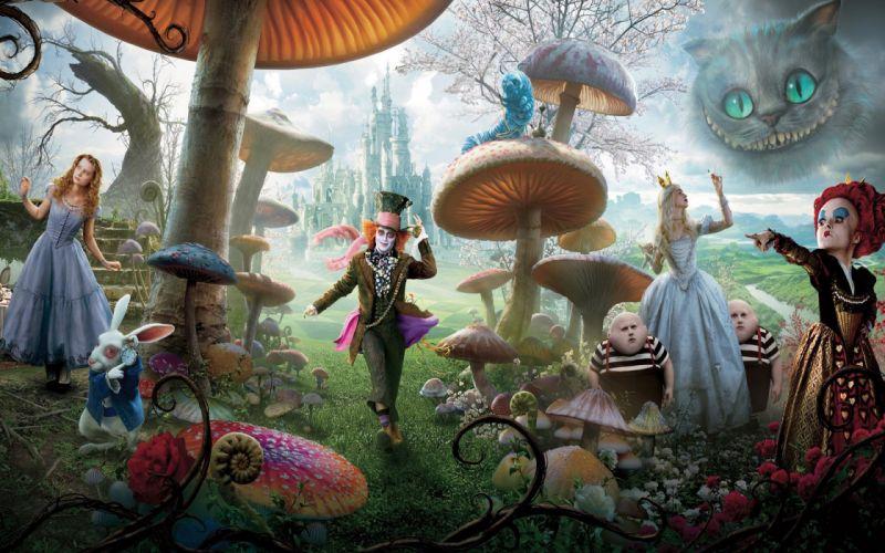 Alice in Wonderland White Queen Mad Hatter Mia Wasikowska Queen of Hearts Cheshire Cat white rabbit wallpaper