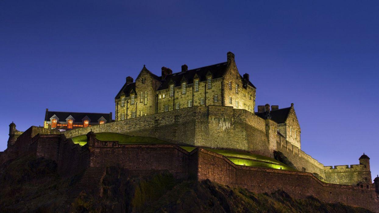 night Scotland Edinburgh castle wallpaper
