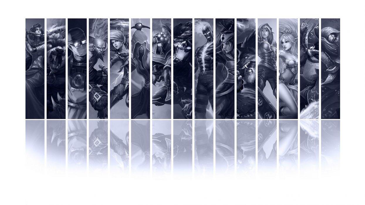 League of Legends Soraka Shen Udyr monochrome Akali Warwick Malphite Kassadin Ryze Master Yi Katarina the Sinister Blade Janna the Storms Fury panels Riven Malzahar Lee Sin wallpaper