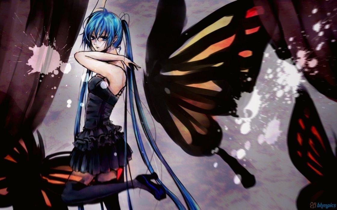 wings Vocaloid dress Hatsune Miku blue eyes long hair blue hair shoes thigh highs twintails curtains hair ribbons lolita fashion anime girls splashes butterflies bare shoulders wallpaper