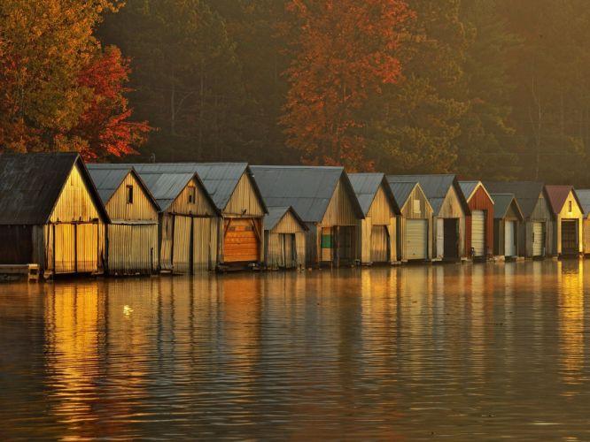 water nature dawn houses wallpaper