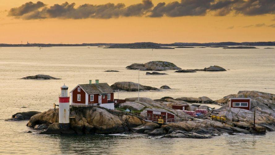 Sweden lighthouses islands Gothenburg wallpaper