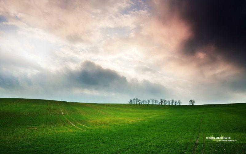 green clouds nature fields wallpaper