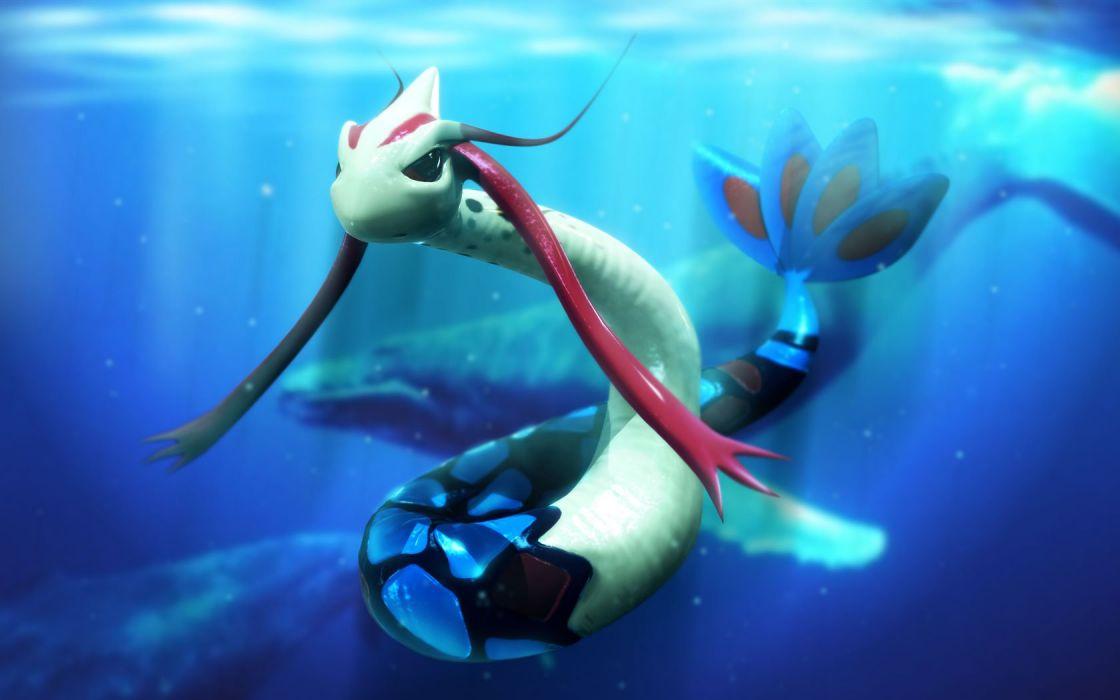 water 3D view Pokemon artwork underwater wallpaper