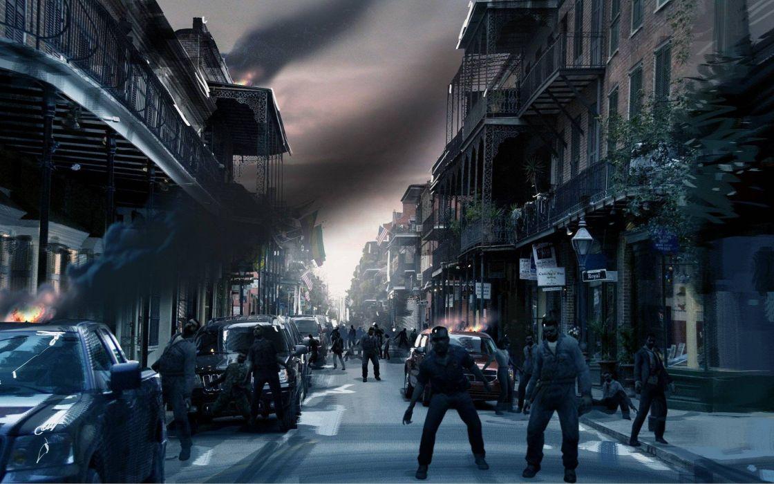 cityscapes zombies apocalypse Left 4 Dead artwork wallpaper