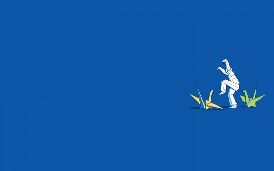 blue minimalistic origami funny swans blue background wallpaper