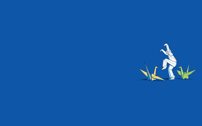 Blue minimalistic origami funny swans blue background ... - photo#9
