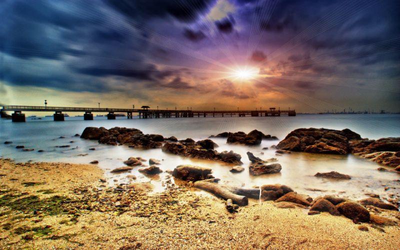clouds landscapes sea wallpaper