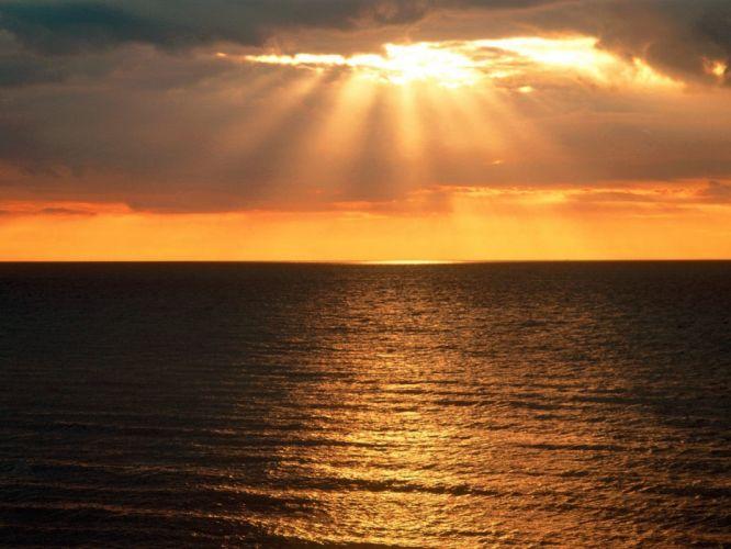 Sun skyscapes sea wallpaper