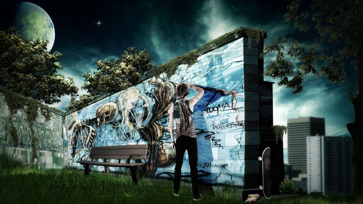 graffiti cities dreadlocks skate wallpaper