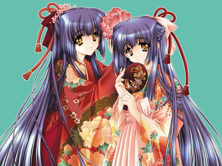 Carnelian kimono purple hair Japanese clothes simple background flower in hair wallpaper