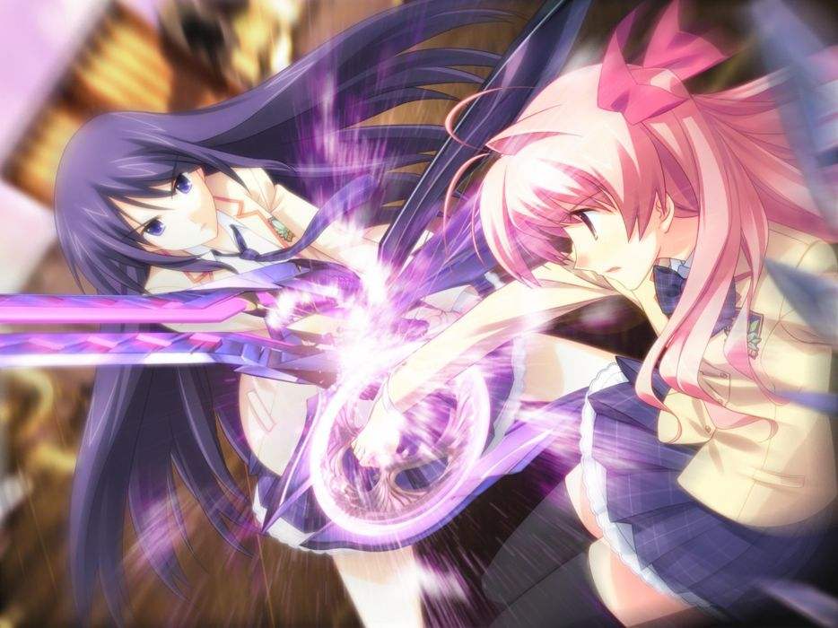 school uniforms pink hair Chaos;Head anime swords wallpaper