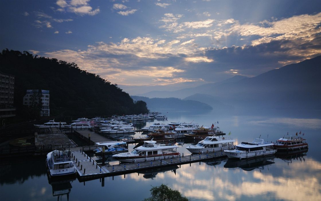 landscapes piers boats reflections wallpaper