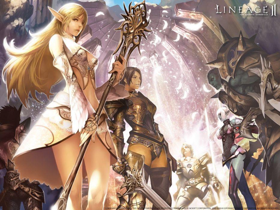 fantasy art armor elves anime staff dark elves swords orc Linage wallpaper