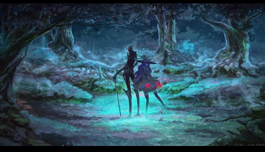 dress forests demons fantasy art red eyes artwork hats ArseniXC wallpaper