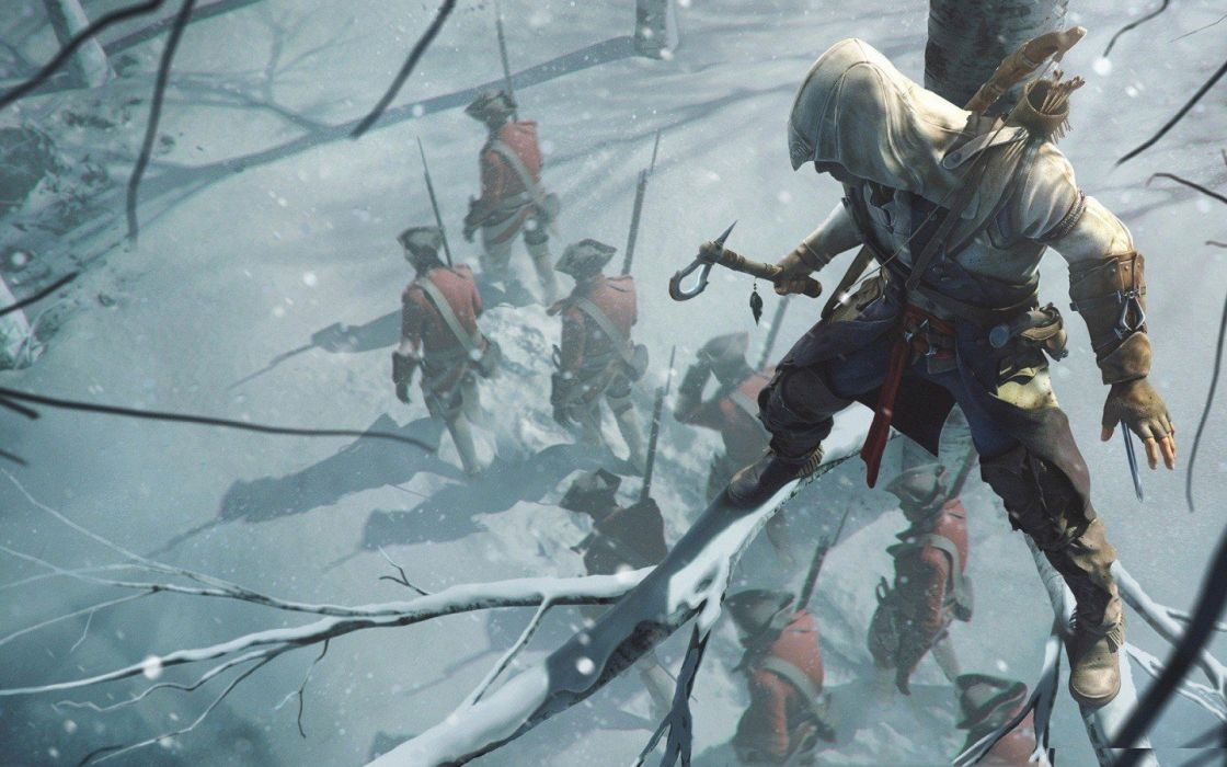 soldiers video games Assassins Creed watching connor wallpaper