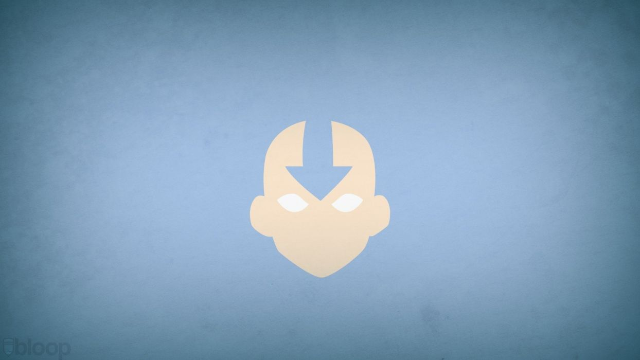 minimalistic Avatar: The Last Airbender Aang blue background blo0p wallpaper