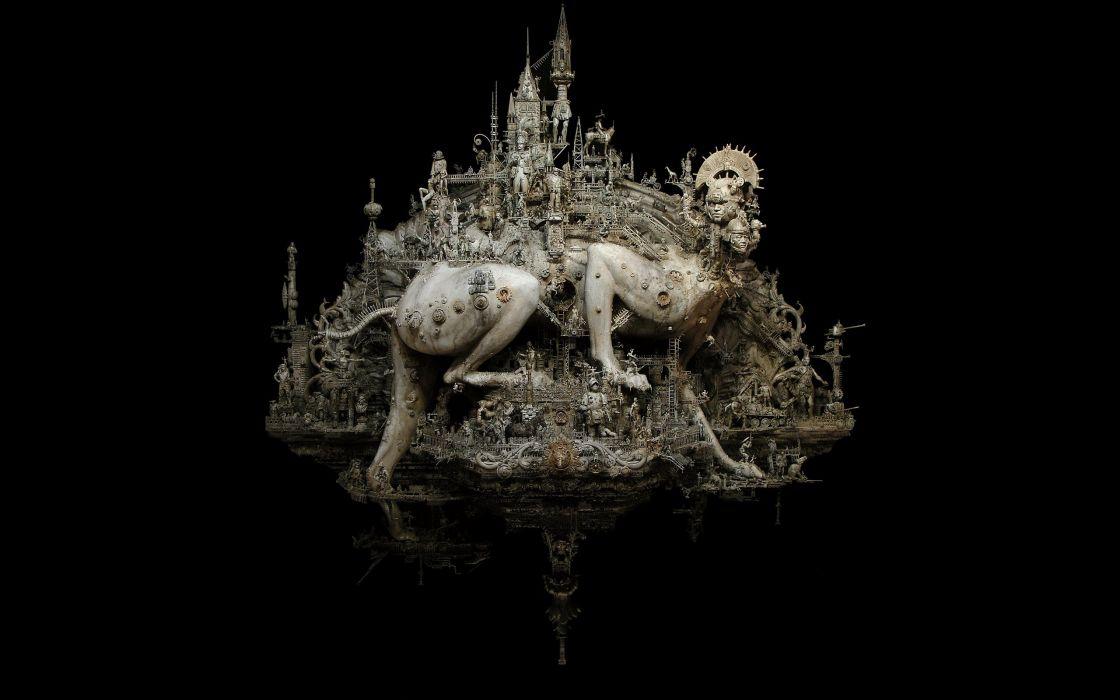 sculptures Babylon kris kuksi black background beasts wallpaper