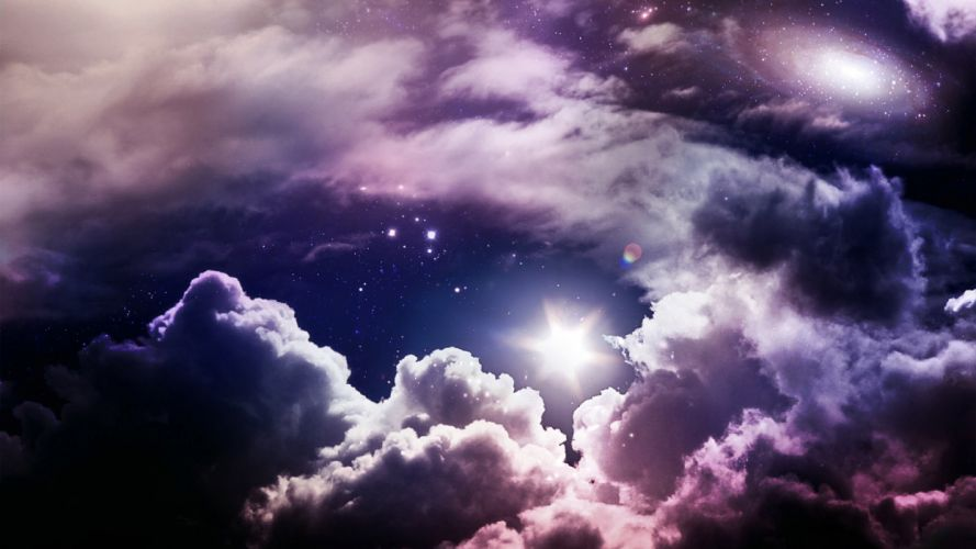 clouds outer space stars skyscapes wallpaper