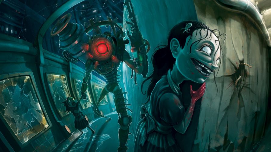 robots scary big sister BioShock 2 wallpaper