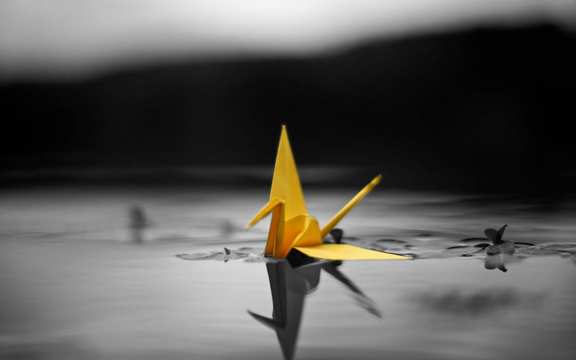 abstract origami selective coloring wallpaper