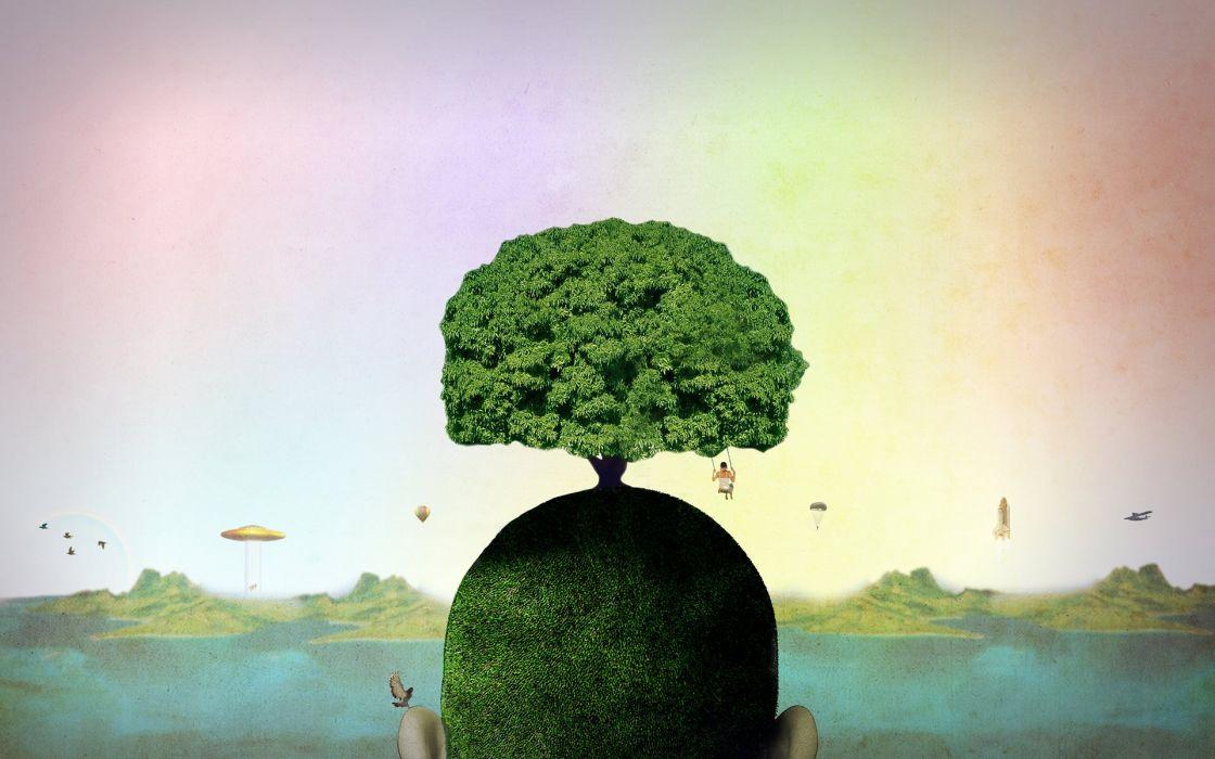 nature trees surreal artwork wallpaper