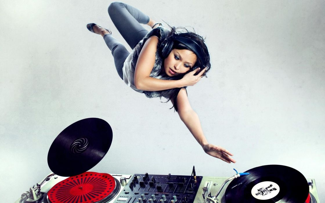 headphones music turntables Dj Girls DJ  wallpaper