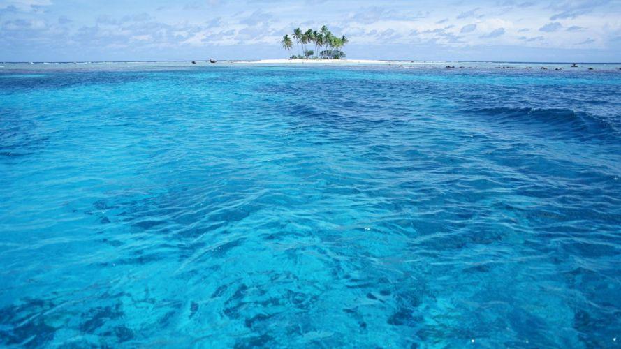water islands palm trees wallpaper