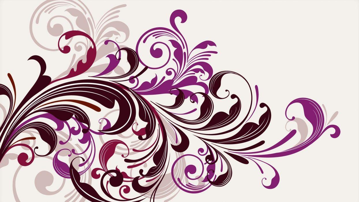 purple vectors swirls floral graphics white background wallpaper
