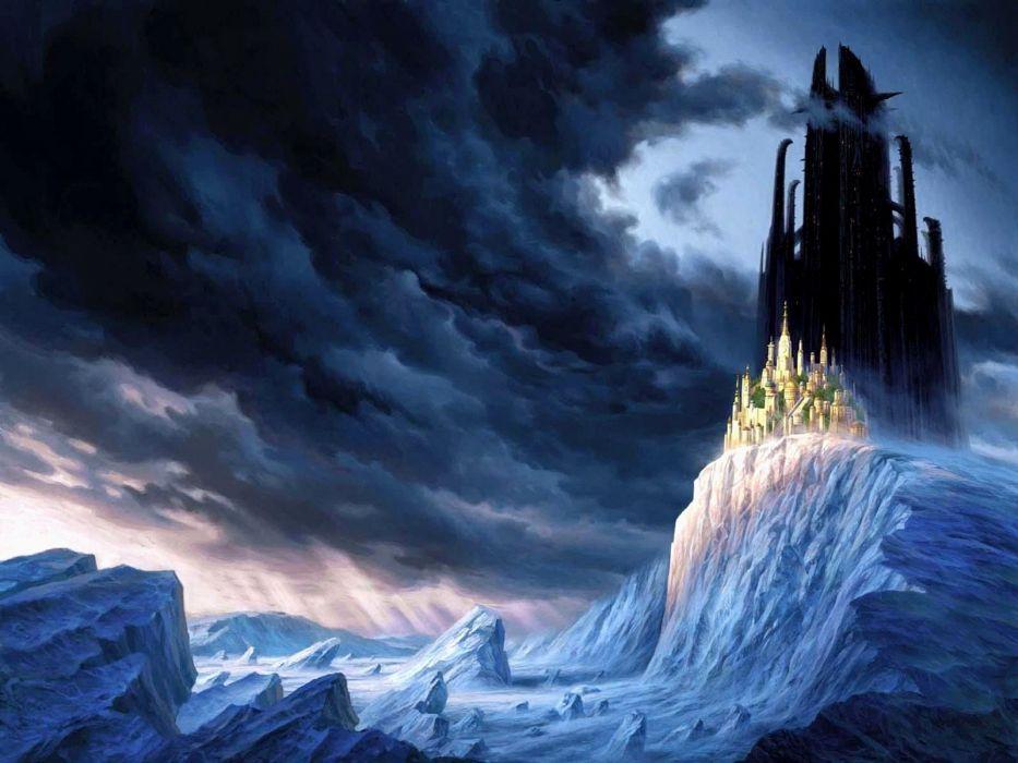 clouds landscapes castles cliffs fantasy art Mortal Engines wallpaper