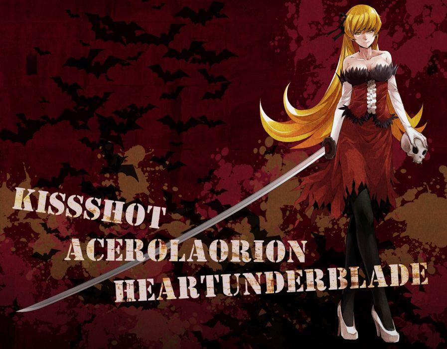 gloves katana cleavage long hair ribbons Bakemonogatari Oshino Shinobu vampire Monogatari series wallpaper