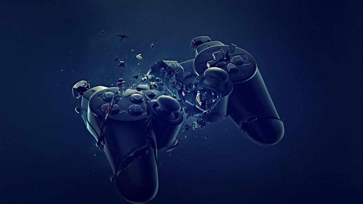 abstract blue black dark broken PlayStation joysticks controller wallpaper