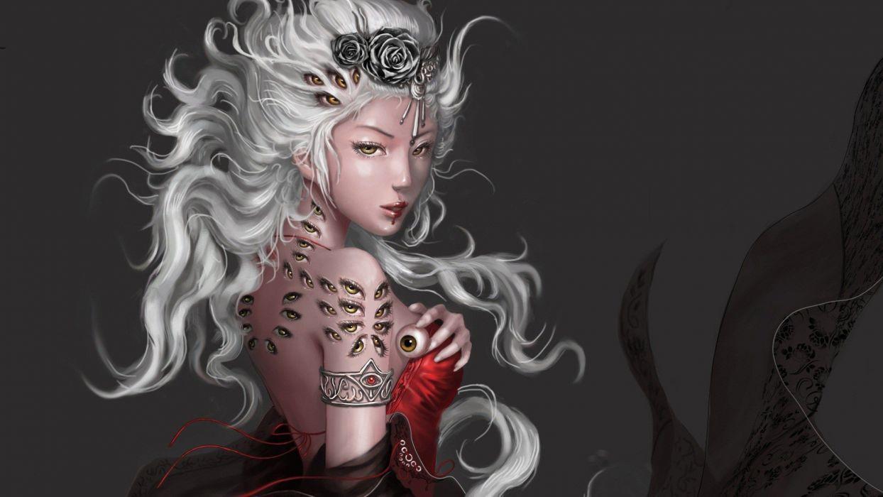 women Queen fantasy art artwork eye wallpaper