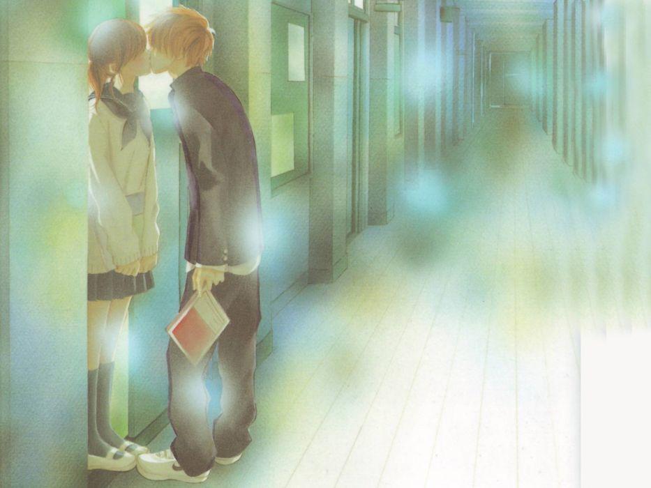 kissing anime wallpaper
