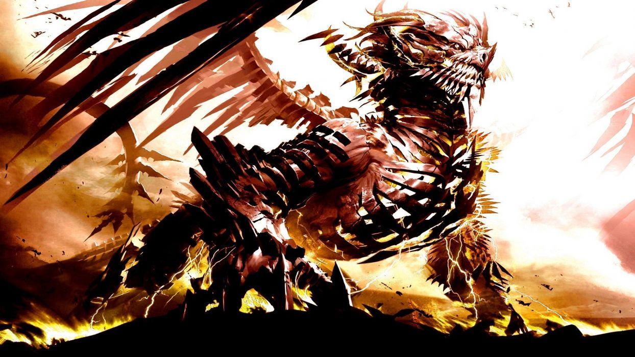 dragons fantasy art wallpaper